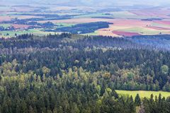 Stolowe Mountains in Poland. Aerial view from Szczeliniec Wielki massif in Table Mountains National Park in Sudetes, Poland Stock Images