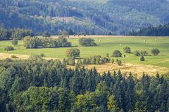Stolowe Mountains in Poland. Aerial view from Szczeliniec Wielki massif in Table Mountains National Park in Sudetes, Poland Royalty Free Stock Photo