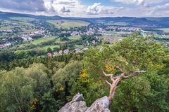 Szczytna in Poland. Aerial view of Szczytna town in Klodzko County, located in Central Sudetes Mountains, Poland Royalty Free Stock Image