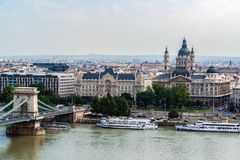 Aerial view of Chain Bridge and St. Stephen`s Basilica - Budapest royalty free stock photo