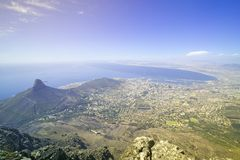 Aerial view from Table Mountain overlooking downtown Cape Town waterfront and Harbor, South Africa Stock Images