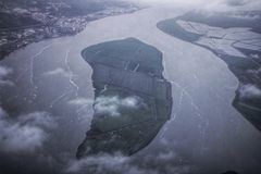 Aerial view of Tagus River. In Lisbon, Portugal Stock Image