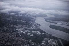 Aerial view of Tagus River. In Lisbon, Portugal Stock Photo