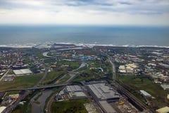 Aerial view of Taiwan Taoyuan International Airport. Taoyuan, DEC 29: Aerial view of Taiwan Taoyuan International Airport on DEC 29, 2016 at Taoyuan, Taiwan stock photography