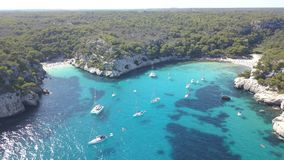Aerial view of a stunning beach in Menorca stock photo