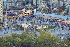 Aerial view of Taksim Square and Republic Monument royalty free stock image