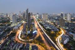 Aerial View of Taksin Bridge over Chao Phraya River, Bangkok, Th Stock Photo