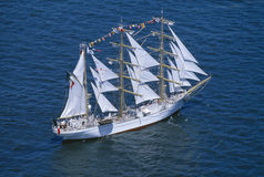 Aerial view of Tall Ship Stock Photo