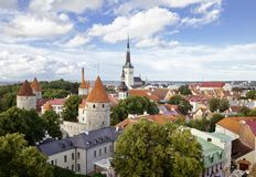 Aerial view of Tallinn. Aerial view of medieval center of Tallinn, capital of Estonia Stock Images