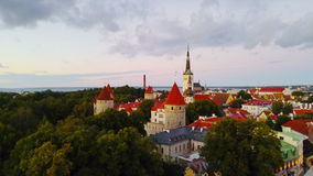 Aerial view of Tallinn stock footage