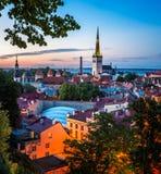 Aerial View of Tallinn Old Town in the Evening, Tallinn Stock Photo