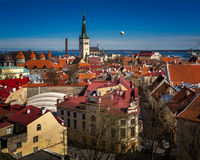 Aerial View of Tallinn Old Town and Olaviste Church Royalty Free Stock Photos