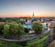 Aerial View of Tallinn Old Town from Toompea Hill at Dawn Royalty Free Stock Photography
