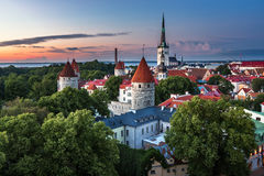Aerial View of Tallinn Old Town from Toompea Hill in the Evening Stock Photography