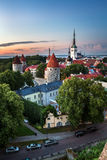 Aerial View of Tallinn Old Town from Toompea Hill in the Evening Stock Images