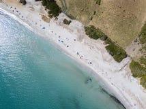 Aerial view of Tamarone beach, Plage de Tamarone, Cap Corse peninsula, Macinaggio, Corsica, France. Sea and vegetation seen from above, rocks. Sentier du stock photos