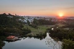 Aerial view of Tangua Park and Curitiba City at sunset - Curitiba, Parana, Brazil. Aerial view of Tangua Park and Curitiba City at sunset in Curitiba, Parana royalty free stock photo