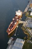 Aerial view of tanker in port Stock Photography