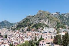 Aerial view of Taormina, historic city at the Sicilian coast Royalty Free Stock Photos