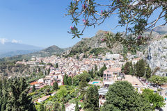 Aerial view of Taormina, historic city at the Sicilian coast Stock Images