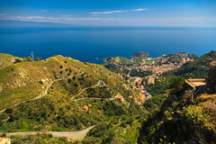 Aerial view of Taormina and its suburbs Stock Photography