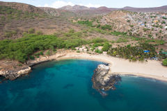 Aerial view of Tarrafal beach in Santiago island in Cape Verde - Royalty Free Stock Photos