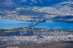 Aerial view of Tasman Bridge and Hobart, Tasmania Stock Photo