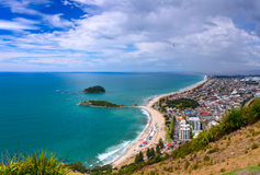 Aerial view of Tauranga town from the Mount Maunganui. Tauranga, New Zealand Royalty Free Stock Images