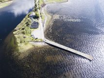 Aerial view of Taynuilt with pier seen from Loch Etive Royalty Free Stock Photography