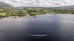 Aerial view of Taynuilt seen from Loch Etive stock photography