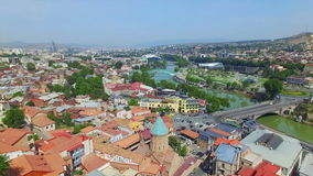 Aerial view of Tbilisi downlown stock footage
