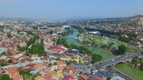 Aerial view of Tbilisi downlown stock video footage