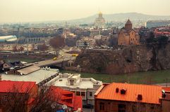 Aerial view of Tbilisi, Georgia city center Royalty Free Stock Images