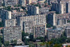 Aerial view of Tbilisi residential districts, Georgia. Aerial view of Tbilisi residential districts, Vake and Saburtalo areas with high population density stock images