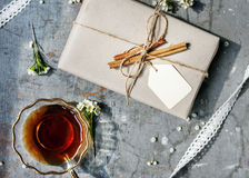 Aerial view of tea cup with gift box Stock Photography