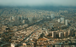 Aerial View of Tehran From Above Milad Tower in a Rainy Day Stock Images