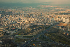 Aerial View of Tehran Capital of Iran Before Sunset Stock Photography