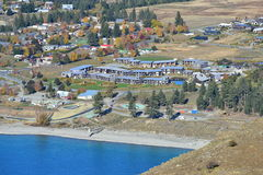 Aerial view of Tekapo town, a popular tourist destination in Canterbury Royalty Free Stock Photo