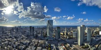 Aerial view of tel aviv skyline with urban skyscrapers and blue sky, Israel.  Royalty Free Stock Image