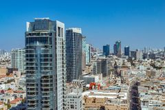 Aerial view of Tel Aviv skyscrapers cityspace. A combination of new and old construction stock photo