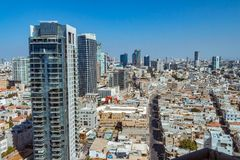Aerial view of Tel Aviv skyscrapers cityspace. A combination of new and old construction royalty free stock images