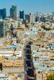 Aerial view of Tel Aviv skyscrapers cityspace. A combination of new and old construction. Tilt shift stock photos