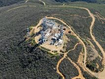 Aerial view of telecommunication antennas on the top of Black Mountain in Carmel Valley, SD, California stock photography