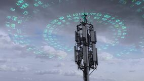 Aerial view of the telecommunication tower transmitting digits signals of cellular mobile 5g 4g 3g. Simulated radio waves.