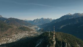 Aerial view of telecommunication towers in the northern mountains, Italy