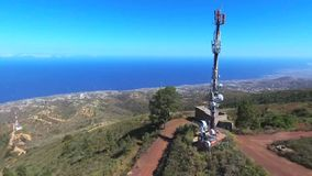 Aerial view of a Telecommunications antena in Guimar, Tenerife, Spain. stock video