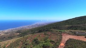 Aerial view of a Telecommunications antena in Guimar, Tenerife, Spain. stock footage