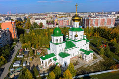 Aerial view on temple chapel in honor of Lady Day. Tyumen, Russia - September 26, 2016: Aerial view on temple chapel in honor of Lady Day Stock Photo
