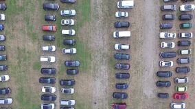 Aerial view on a temporary parking lot stock video