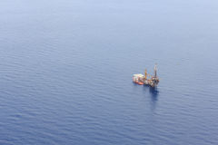 Aerial View of Tender Drilling Oil Rig Royalty Free Stock Image